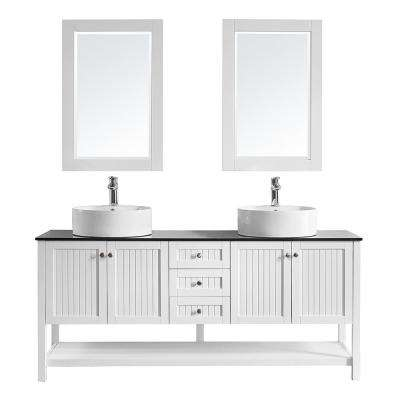 Modena 72 in. W x 20 in. D Vanity in White with Glass Vanity Top in Black with White Basin and Mirror