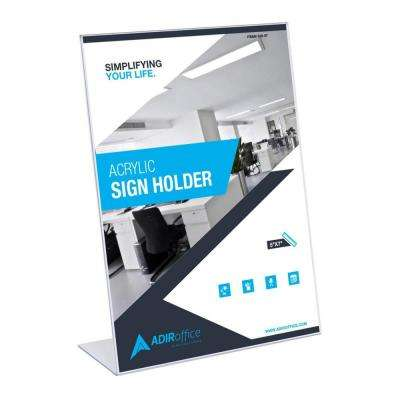 5 in. x 7 in. Slanted Side Loading Acrylic Sign Holder (3-Pack)