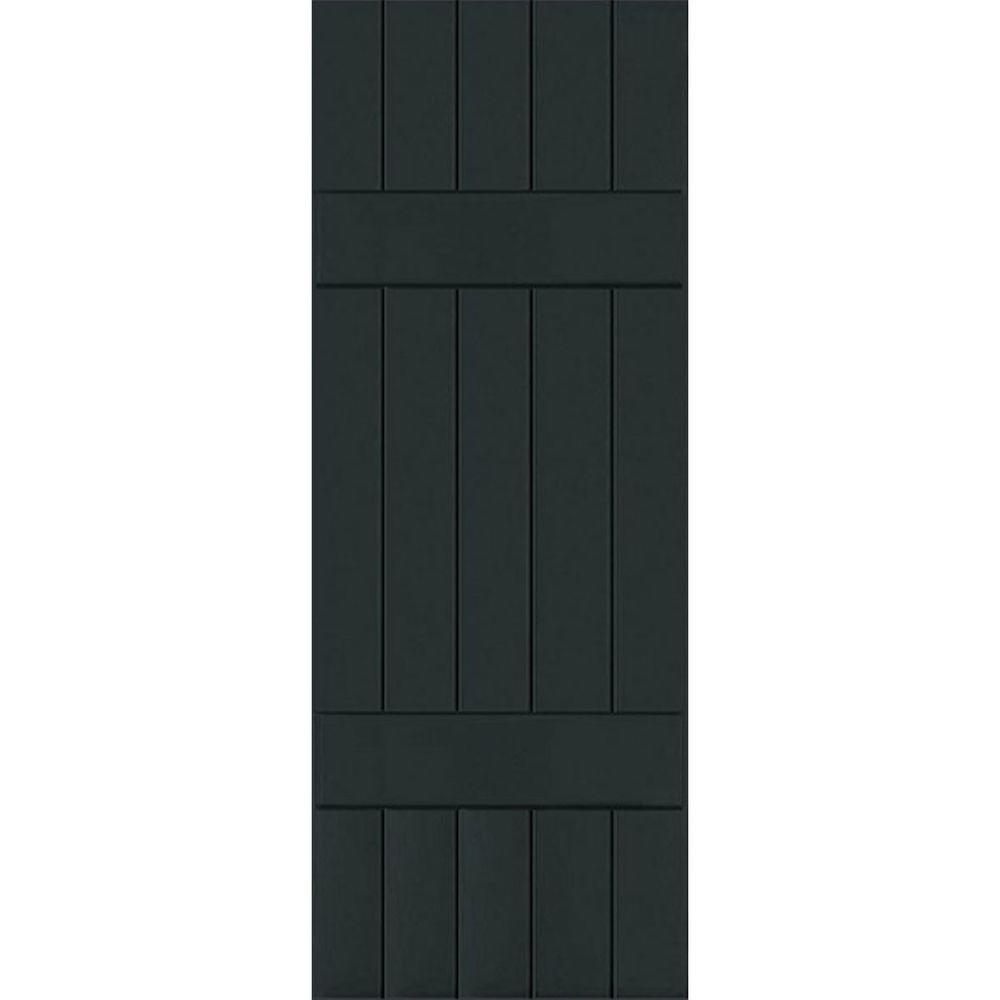 Ekena Millwork 18 in. x 34 in. Exterior Composite Wood Board and Batten Shutters Pair Dark Green