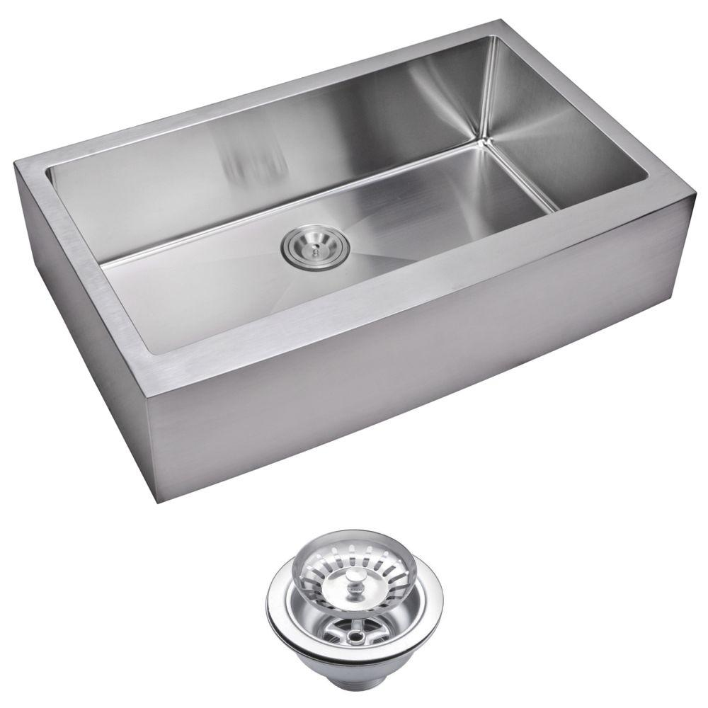 Water Creation Farmhouse Apron Front Small Radius Stainless Steel 36 in. Single Basin Kitchen Sink with Strainer in Satin