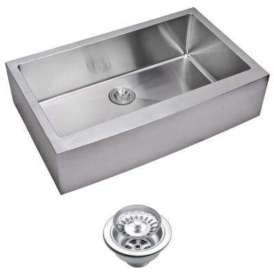 Farmhouse Apron Front Small Radius Stainless Steel 36 in. Single Bowl Kitchen Sink with Strainer in Satin