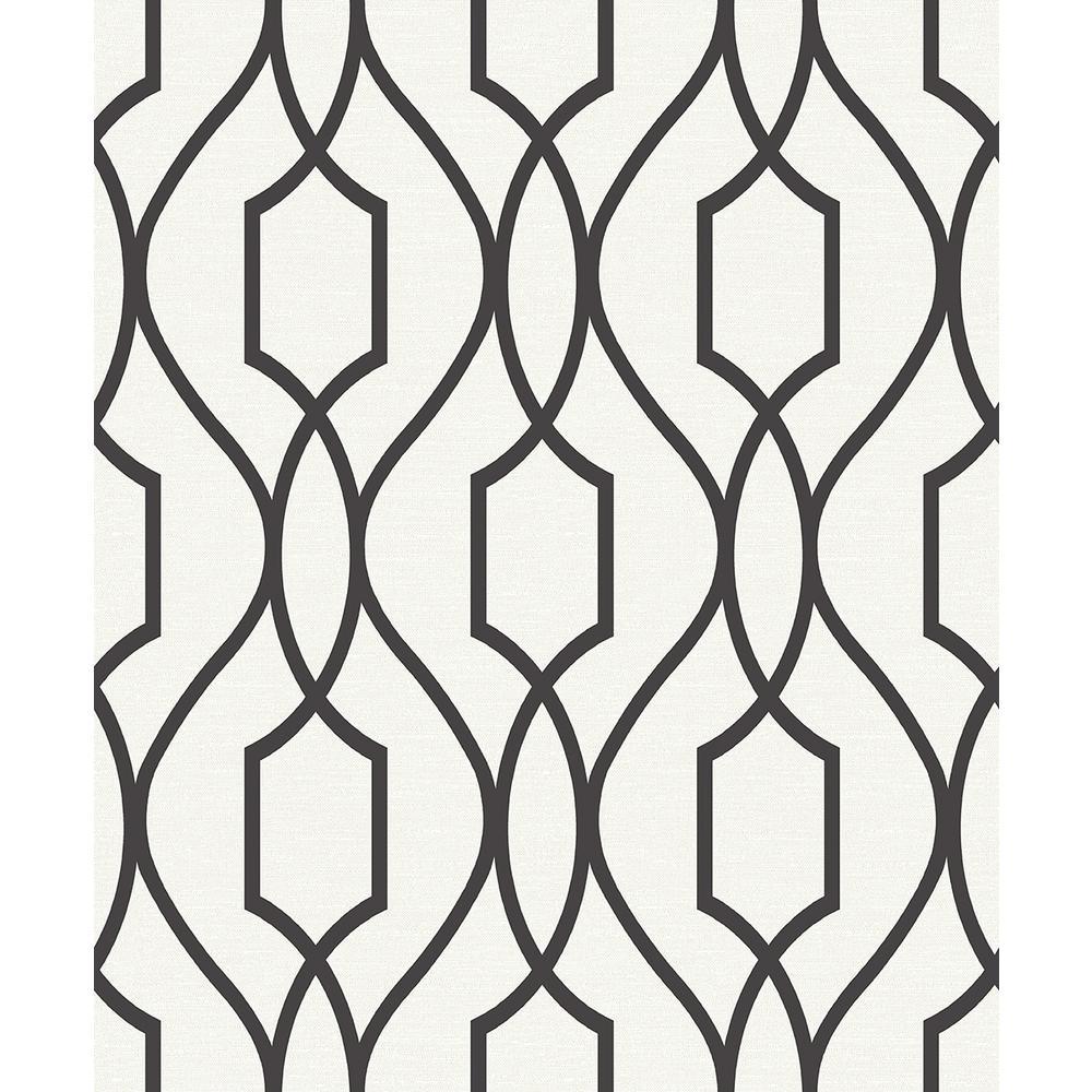 56.4 sq. ft. Evelyn Black Trellis Wallpaper