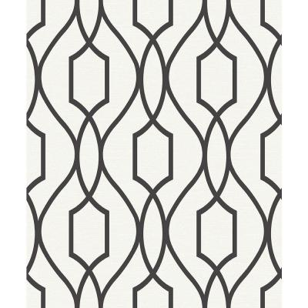 8 in. x 10 in. Evelyn Black Trellis Wallpaper Sample