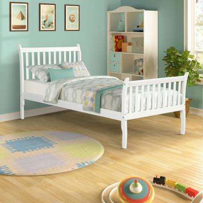 White Modern Farmhouse Style Pine Wood Twin Size Bed