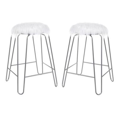 Morrissey 25 in. White Faux Fur and Silver Upholstered Stool (Set of 2)