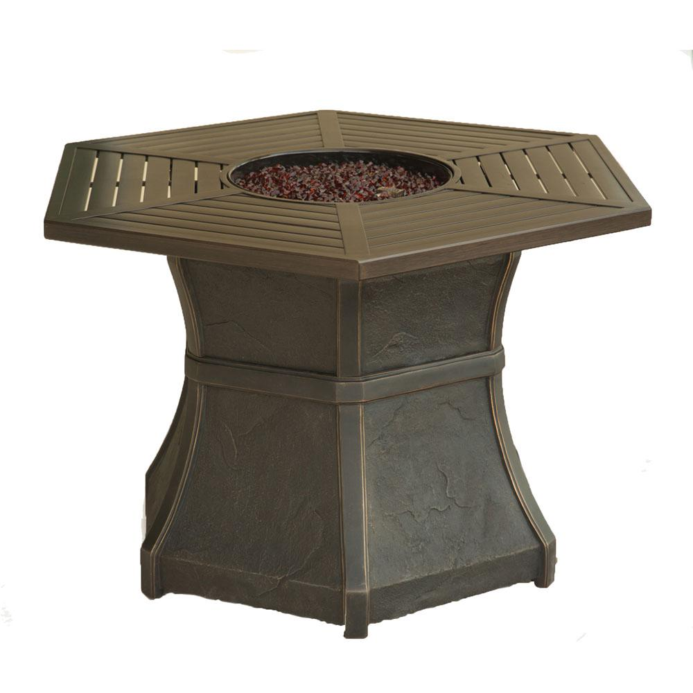 Hanover Aspen Creek 19 in. Aluminum High-Top Fire Pit Tab...