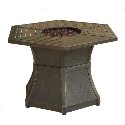 Aspen Creek 19 in. Aluminum High-Top Fire Pit Table in Dark Oak
