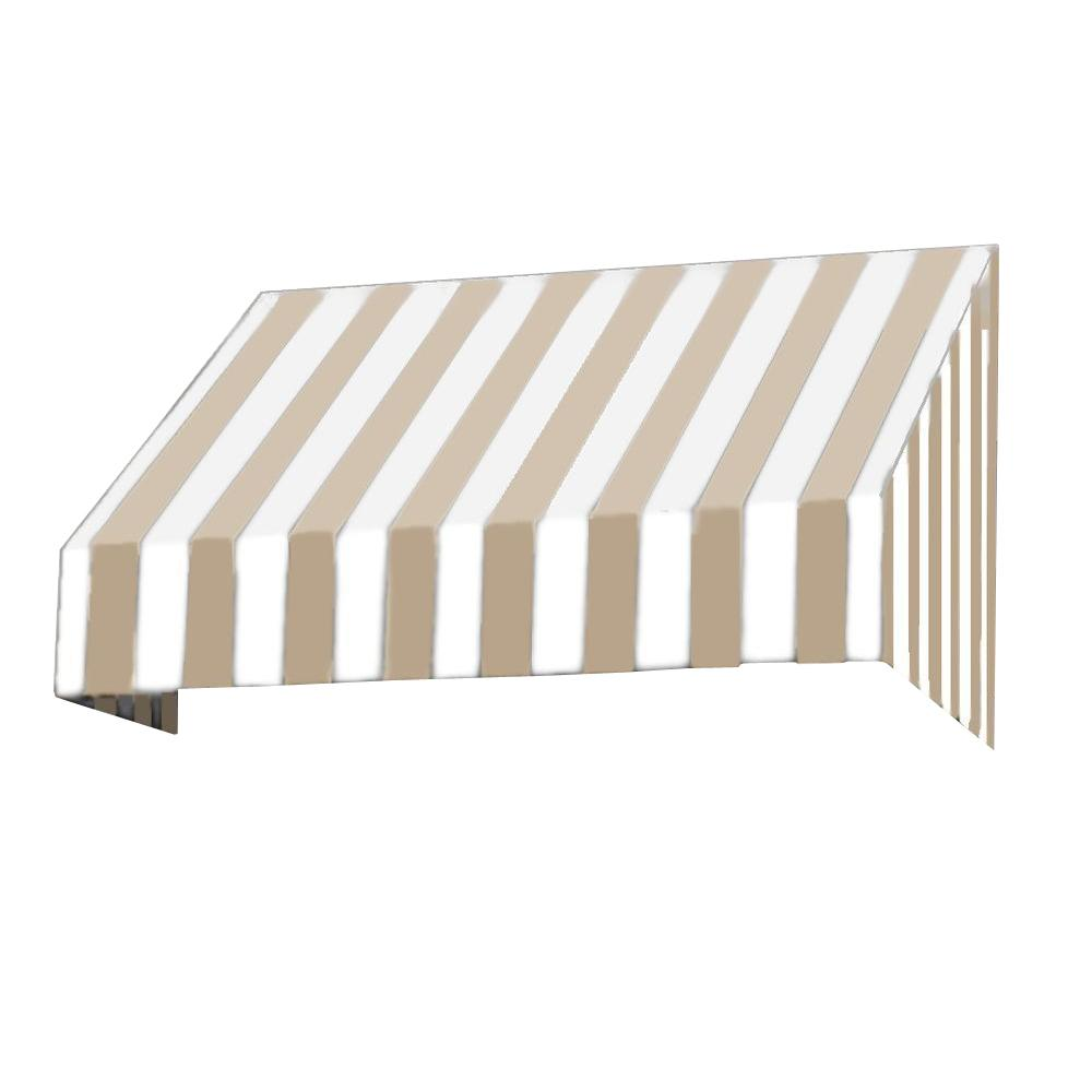 AWNTECH 30 ft. New Yorker Window Awning (44 in. H x 24 in. D) in Tan/White Stripe