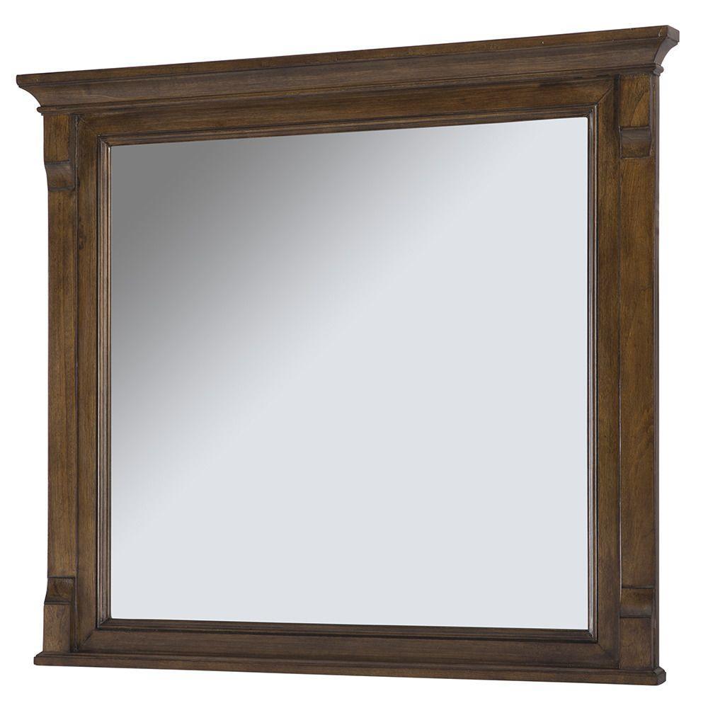 36 in. W x 32 in. H Framed Rectangular Beveled Edge Bathroom Vanity Mirror in Walnut