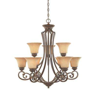 Vienna 9-Light Forged Sienna Hanging Chandelier