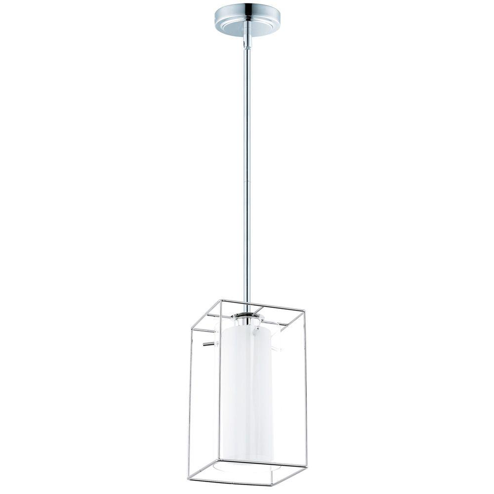 Loncino 5.875 in. W 1-Light Chrome Pendant with White Glass within a Clear Glass Shade