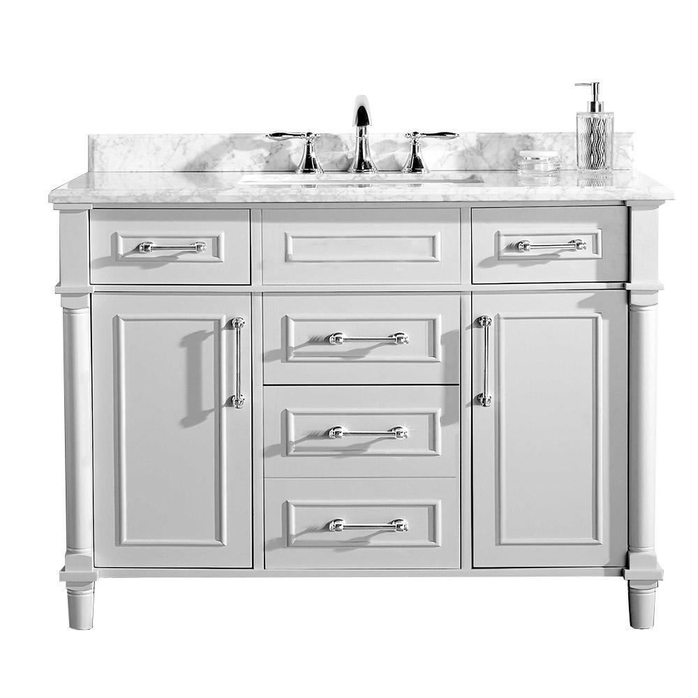 Home Decorators Collection Aberdeen 48 In W X 22 In D Vanity In White With Marble Vanity Top