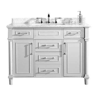Aberdeen 48 in. W x 22 in. D Vanity in White with Marble Vanity Top in White with White Basin
