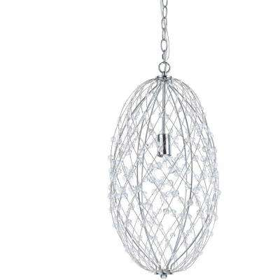 Tear Drop Silver Web 1-Light Polished Chrome Pendant with Plastic Bead Accents