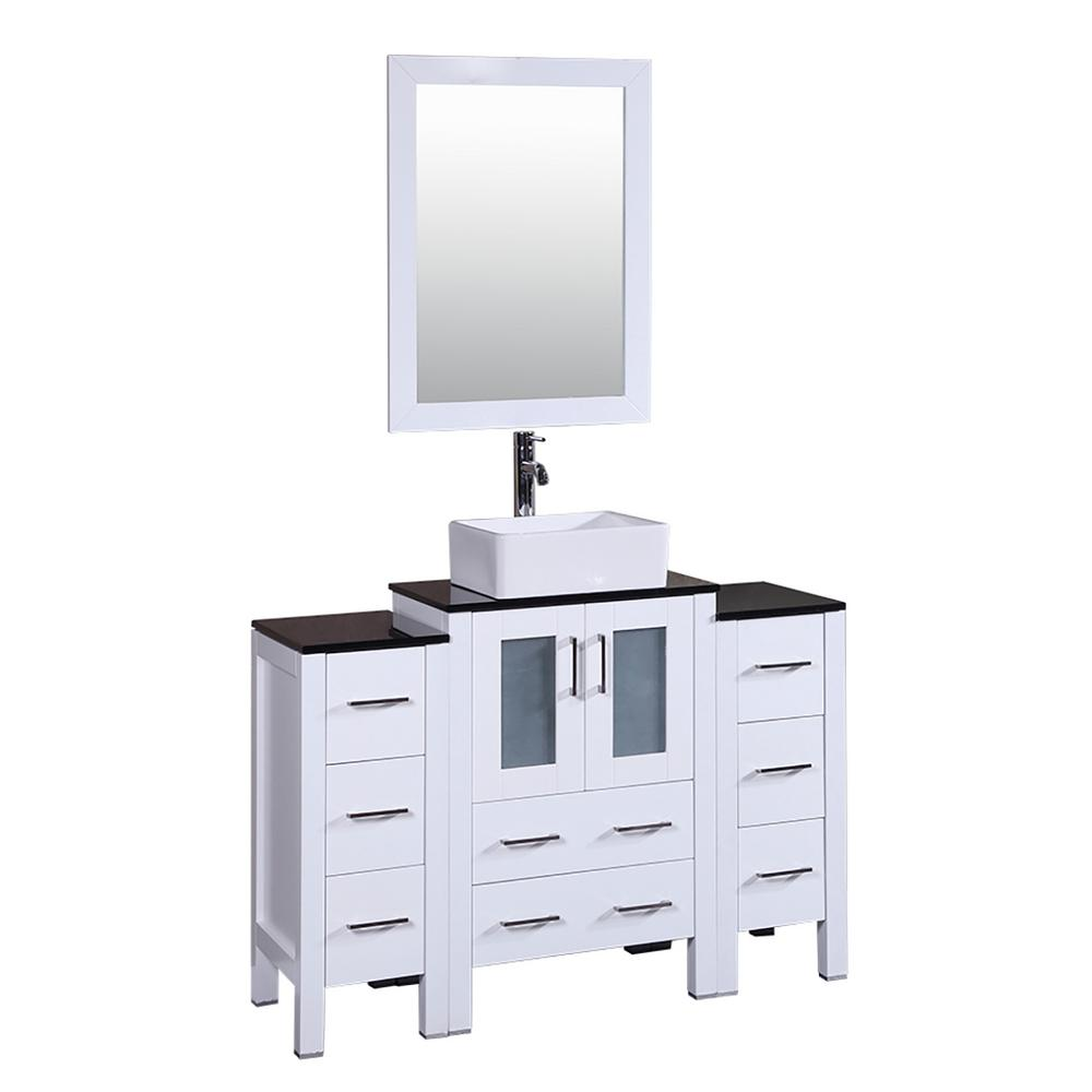 48 in. W Single Bath Vanity in White with Tempered Glass
