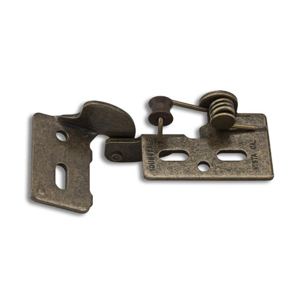 youngdale antique brass 4 3 8 in lip inset non wrap self closing