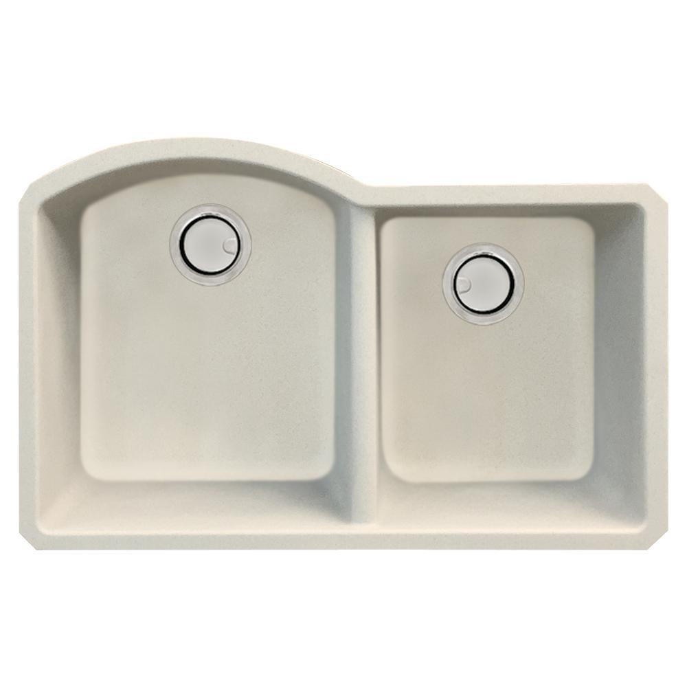 Aversa Undermount Granite 32 in. 1-3/4 D-Shape Double Bowl Kitchen Sink in Cafe Latte
