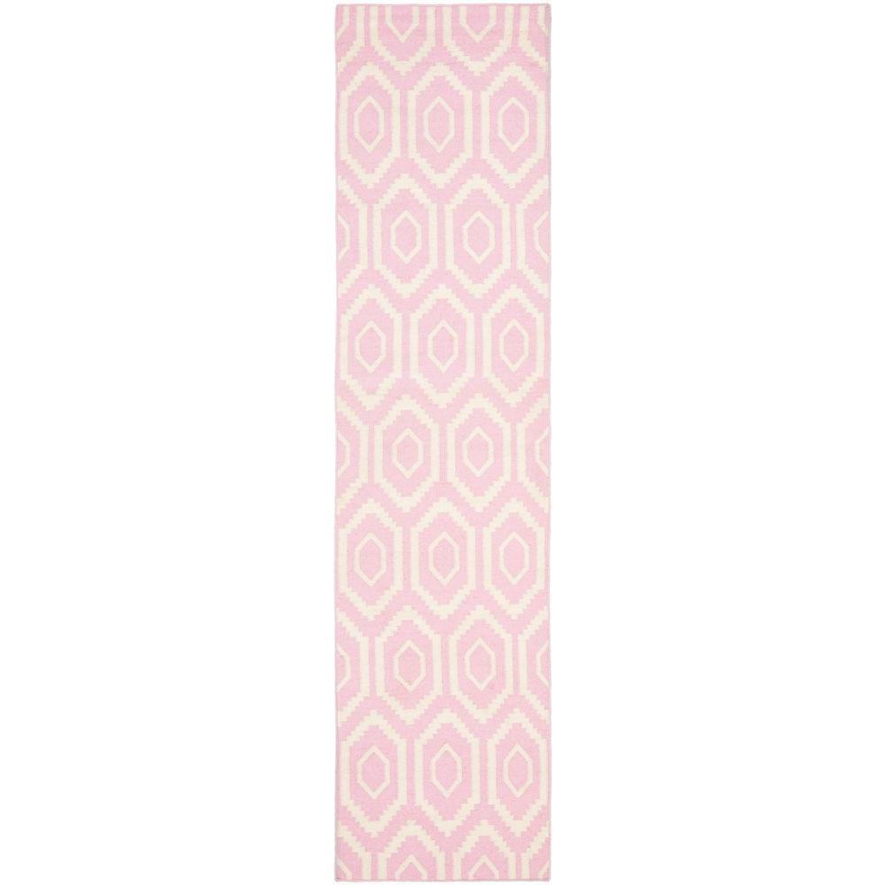 Dhurries Pink/Ivory 3 ft. x 10 ft. Runner Rug
