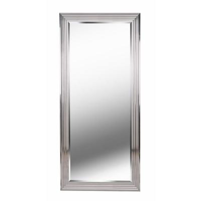 Oversized Chrome Composite Beveled Glass Hooks Modern Classic Mirror (66 in. H X 30.00 in. W)