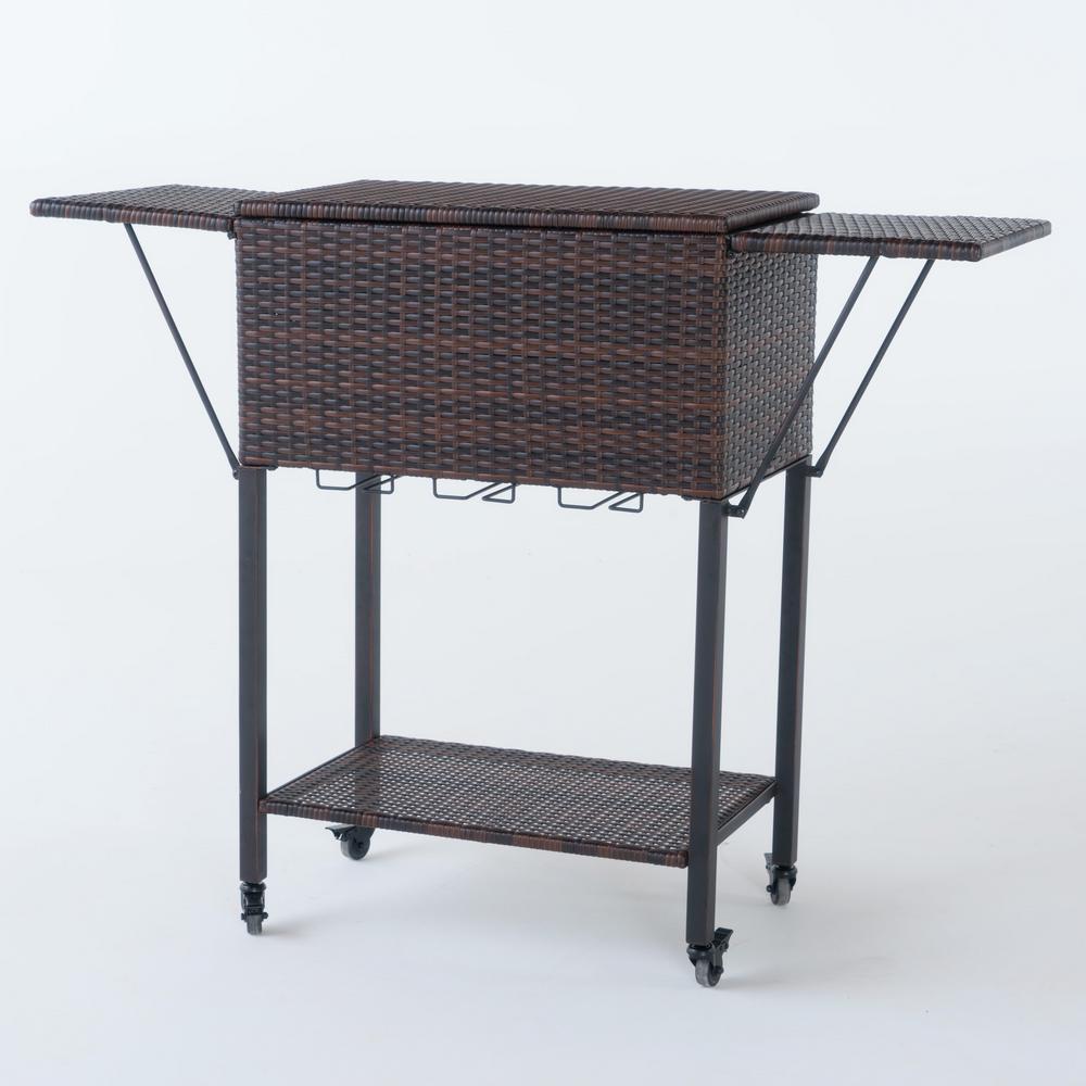 Noble House Aabbye Multibrown Wicker Bar Serving Cart