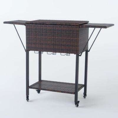 Aabbye Multibrown Wicker Bar Serving Cart