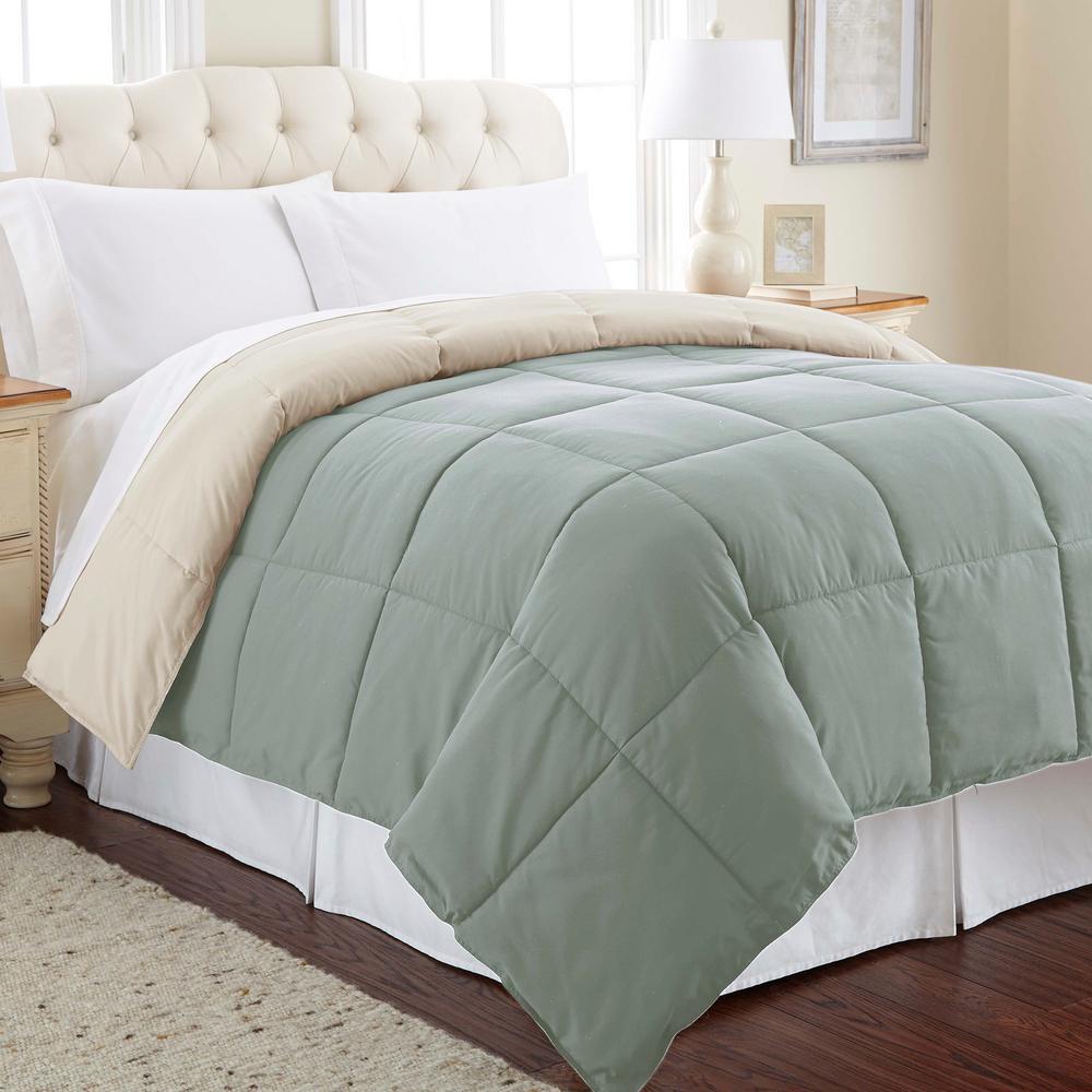 Multi-Colored Dusty Sage/Almond Down Alternative Reversible Queen Cotton Blend Comforter