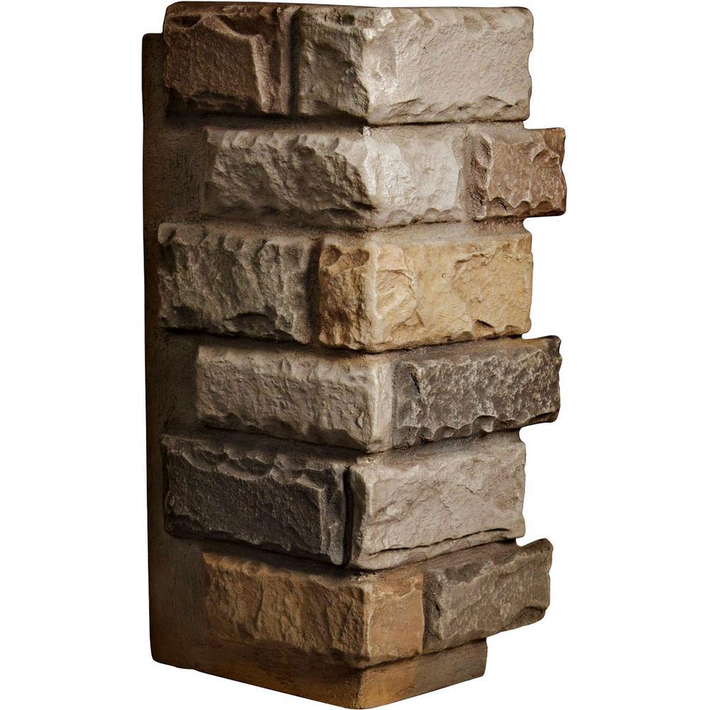 1-1/2 in. x 12-1/2 in. x 25 in. Terrastone Urethane Cut Coarse Random Rock Outer Corner Wall Panel