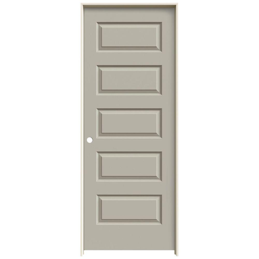 JELD-WEN 30 in. x 80 in. Rockport Desert Sand Painted Right-Hand Smooth Molded Composite MDF Single Prehung Interior Door