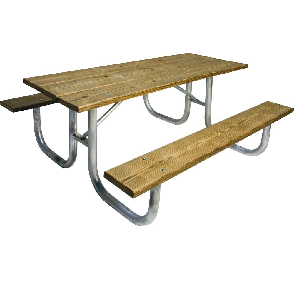Portable 8 ft. Pressure Treated Wood Commercial Park Table
