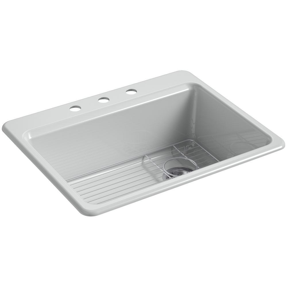 KOHLER Riverby Drop-In Cast Iron 27 in. 3-Hole Single Bowl Kitchen Sink Kit in Ice Grey
