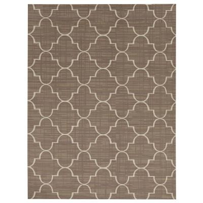 Printed Roman Taupe/White 6 ft. x 8 ft. Indoor/Outdoor Area Rug