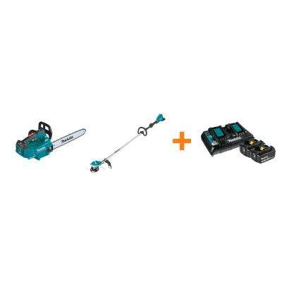 18V X2 LXT Brushless Electric 16 in. Top Handle Chain Saw and 18V X2 LXT String Trimmer with bonus 18V LXT Starter Pack