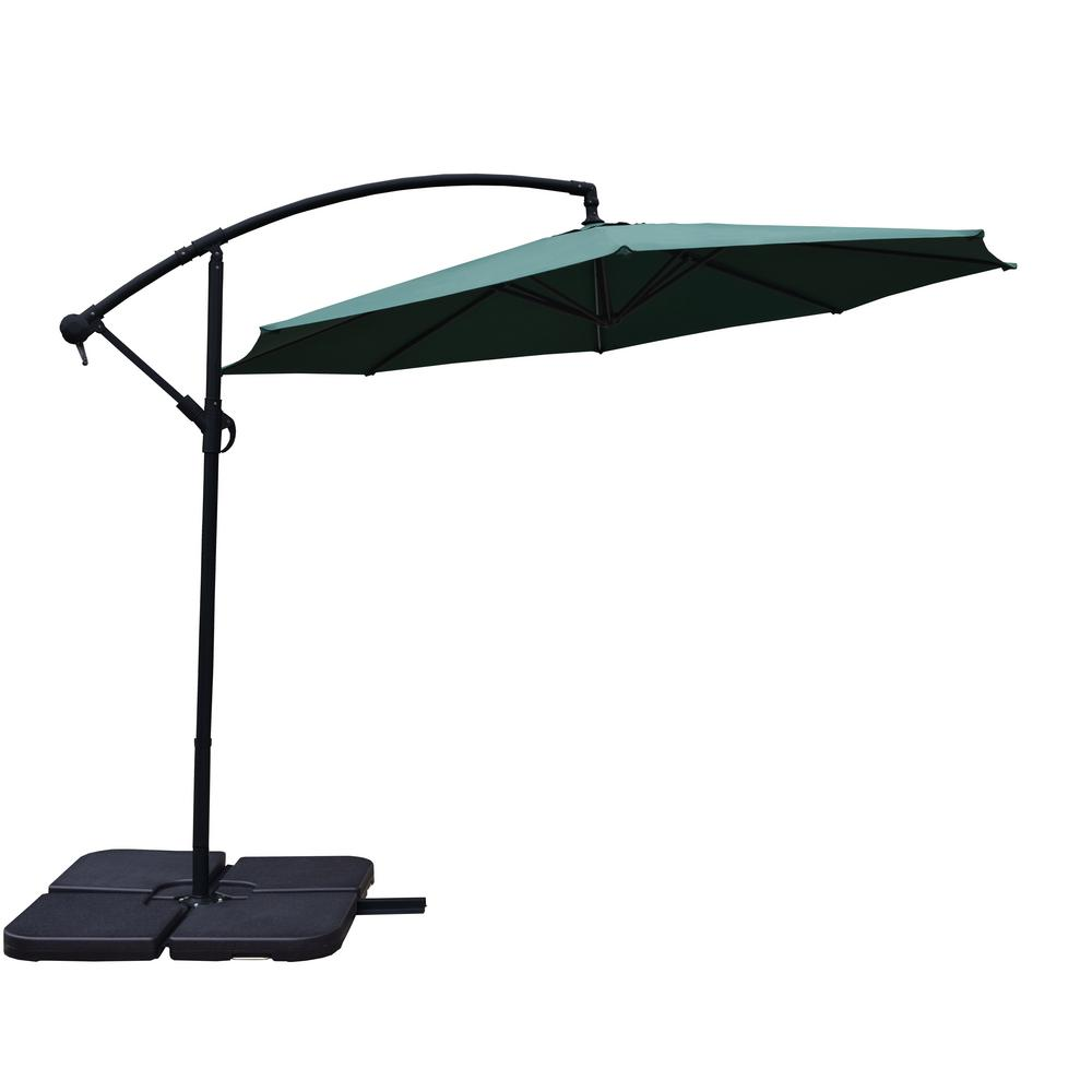 10 ft. Cantilever Patio Umbrella in Green with 4-Piece Polyresin Base