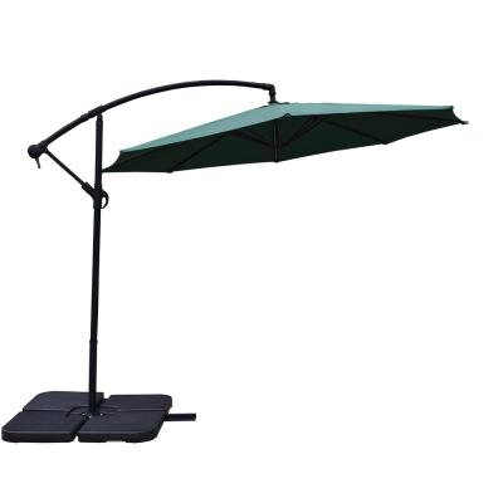 10 ft. Cantilever Patio Umbrella in Green with 4-Piece Polyresin Base