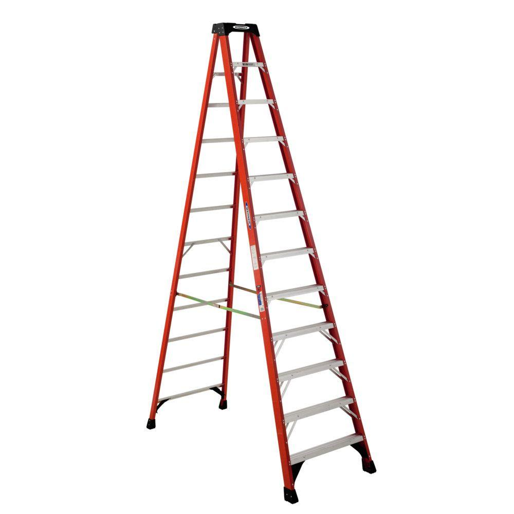Werner 12 Ft Fiberglass Step Ladder With 300 Lb Load Capacity Type Ia Duty Rating Nxt1a12 The Home Depot