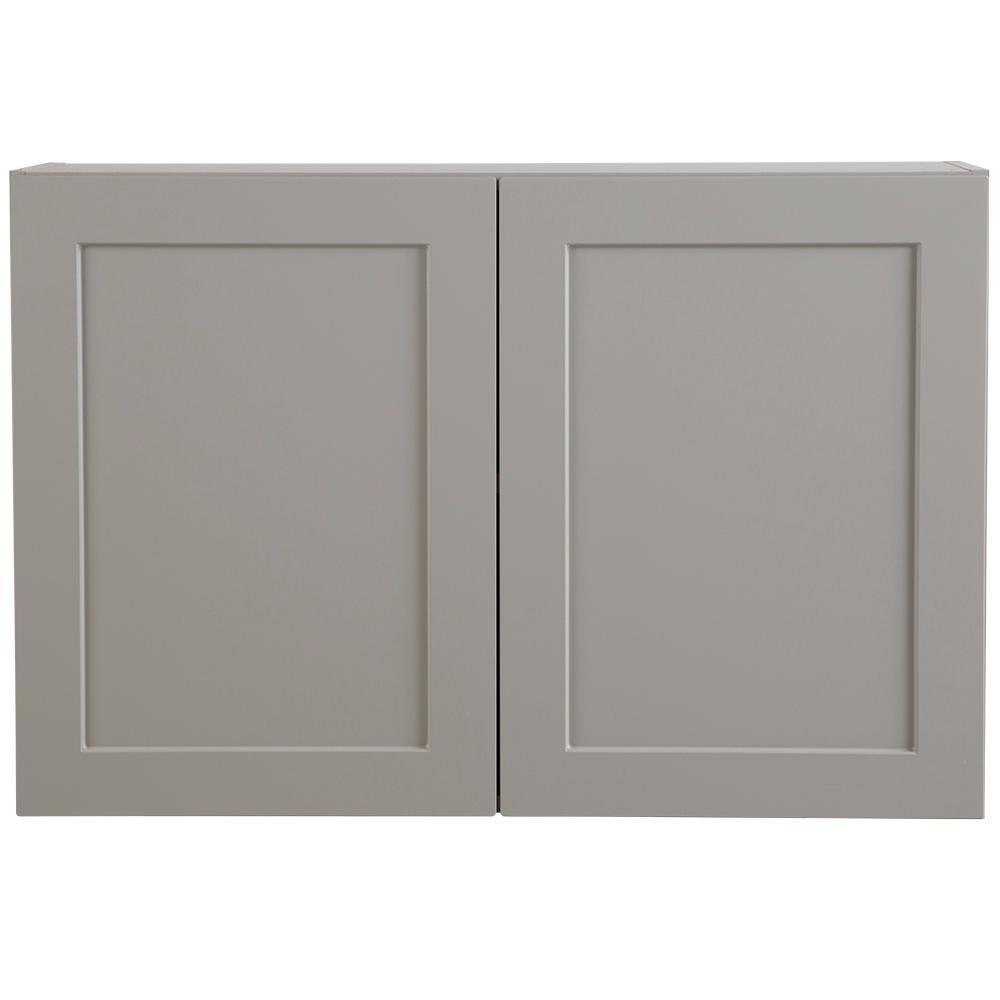 Hampton Bay Cambridge Embled 36x24x12 5 In Wall Cabinet Gray