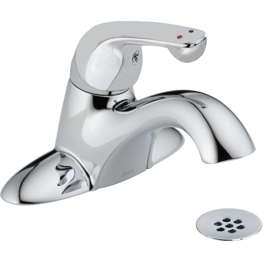 Commercial 4 in. Single-Handle Bathroom Faucet with Metal Drain Assembly in