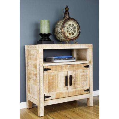 Shelly Assembled 26 in. x 26 in. x 13.75 in. Distressed Wood Accent Storage Cabinet with Open Shelf, 2 Doors