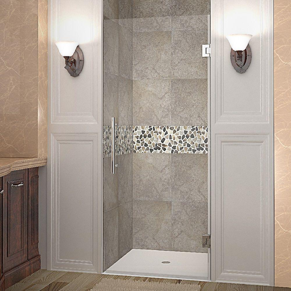 Aston Cascadia 29 in. x 72 in. Completely Frameless Hinged Shower Door in Stainless Steel with Clear Glass