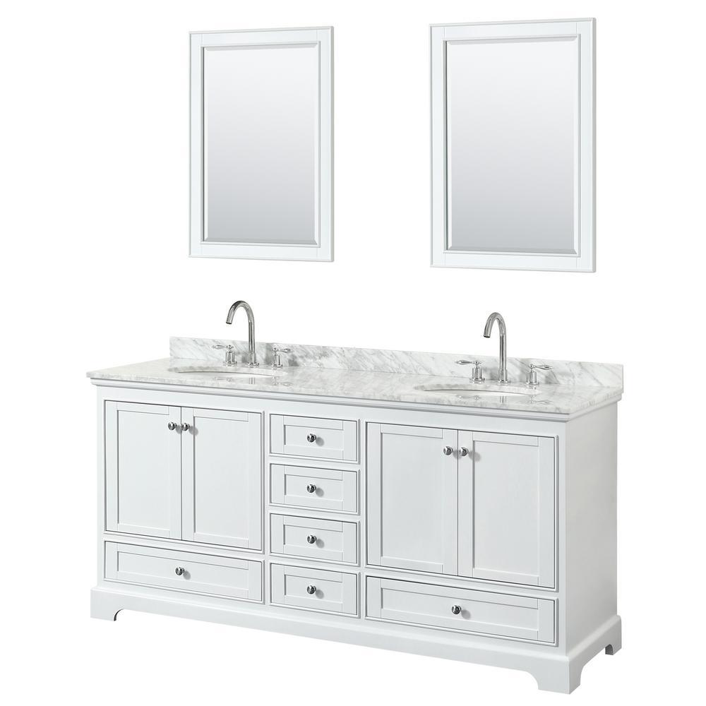 Deborah 72 in. Double Vanity in White with Marble Vanity Top in White Carrara with White Basins and 24 in. Mirrors