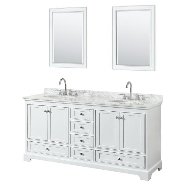 Wyndham Collection Deborah 72 In Double Vanity In White With Marble Vanity Top In White Carrara With White Basins And 24 In Mirrors Wcs202072dwhcmunom24 The Home Depot