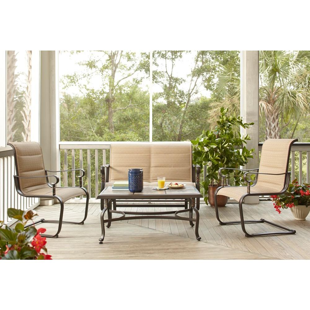 Hampton Bay Belleville Padded Sling 4 Piece Patio Seating Set