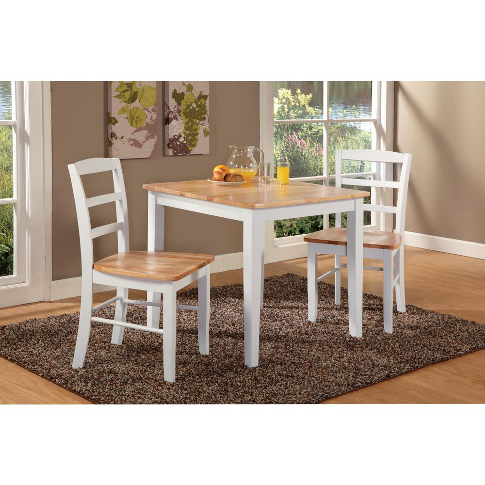 International Concepts Madrid 3 Piece White And Natural Dining Set