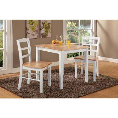 Madrid 3-Piece White and Natural Dining Set