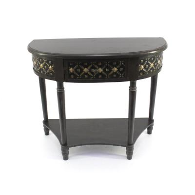 Dark Brown Wood Console Table with Drawer