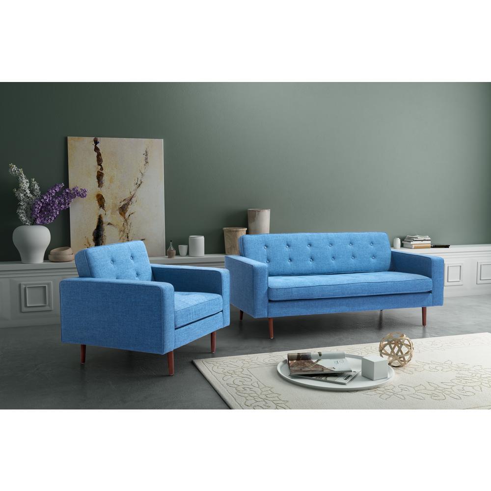 Puget Blue Cotton Blend Arm Chair