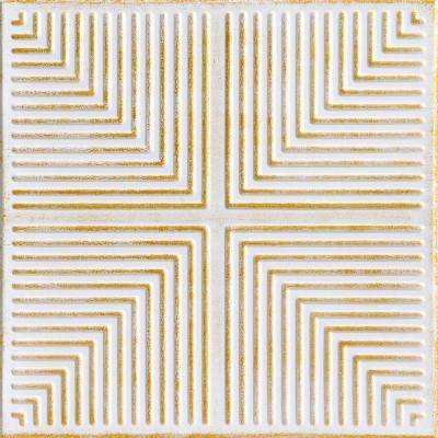 Pyramid Illusion 1.6 ft. x 1.6 ft. Foam Glue-up Ceiling Tile in White Washed Gold