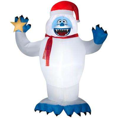 8 ft pre lit inflatable bumble with santa hat and star airblown