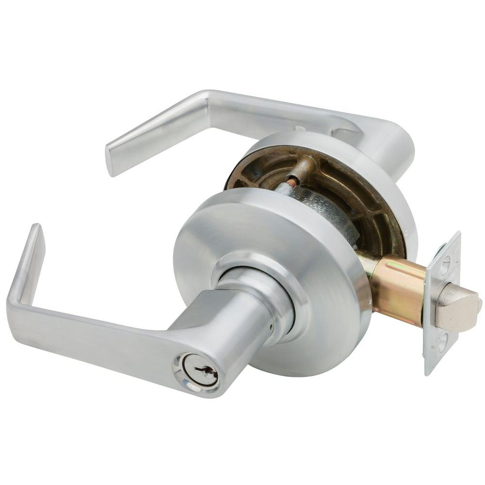 Schlage Saturn Satin Chrome Commercial Keyed Entry Door Lever Al53pd Sat 626 The Home Depot