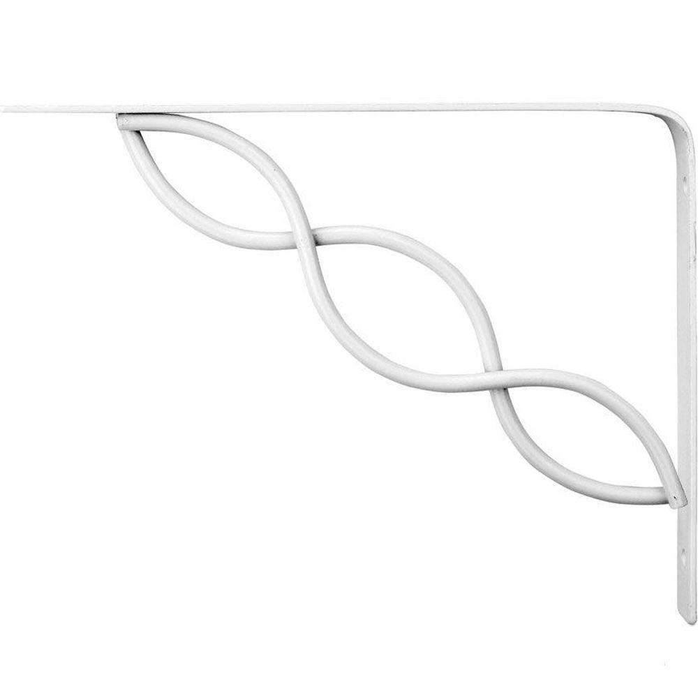 8 in. x 6 in. White Scroll Decorative Shelf Bracket